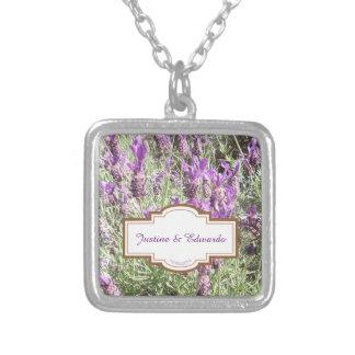 Französischer Lavendel-Blumen-Hochzeit Versilberte Kette