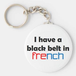 Französischer schwarzer Gürtel Schlüsselanhänger