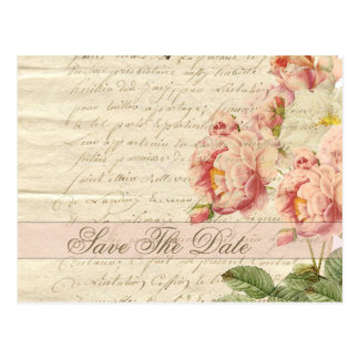 Französischer Vintager Buchstabe und Rosen Save Postkarte