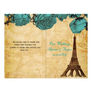 Französisches gefaltetes Wedding Programm des Flyer