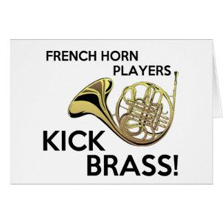 Französisches Horn-Spieler-Tritt-Messing Karte