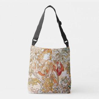 Frau Alphonse Mucha mit einer Gänseblümchen-Kunst Tragetaschen Mit Langen Trägern