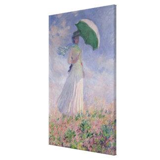Frau Claude Monets | mit einem Sonnenschirm nach Leinwanddruck