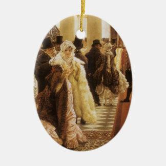 Frau der Mode durch Tissot, Vintage viktorianische Keramik Ornament