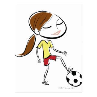 Frau, die Fußball spielt Postkarte