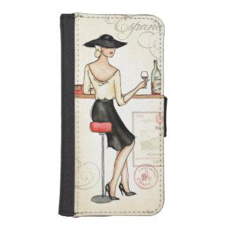 Frau, die spanischen Wein trinkt Geldbeutel Hülle Für Das iPhone SE/5/5s