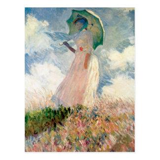 Frau mit einem Sonnenschirm - Claude Monet Postkarte