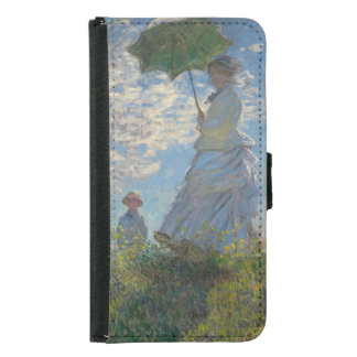 Frau mit einem Sonnenschirm durch Claude Monet Samsung Galaxy S5 Geldbeutel Hülle
