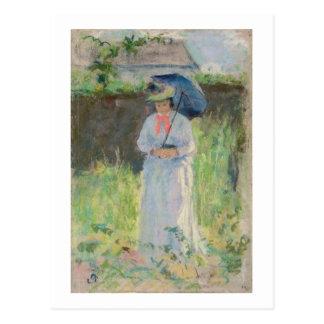 Frau mit einem Sonnenschirm (Pastell auf Papier) Postkarte