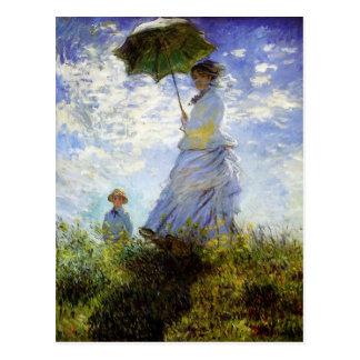 Frau mit einer Sonnenschirm-Postkarte Postkarte