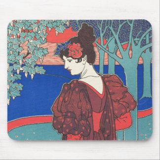 Frau mit Pfau-Kunst Nouveau Vintager feiner Kunst Mauspad