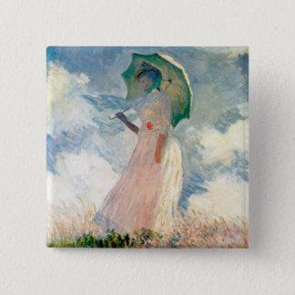 Frau mit Sonnenschirm-Promenade Monet Quadratischer Button 5,1 Cm