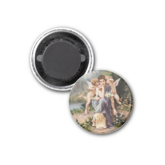 Frau und Engel Runder Magnet 2,5 Cm