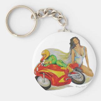 Frau und Motorrad Schlüsselanhänger