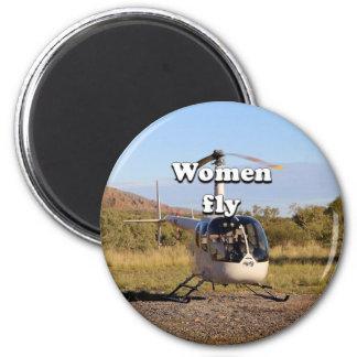 Frauen fliegen: Hubschrauber (weiße) 2 Runder Magnet 5,1 Cm