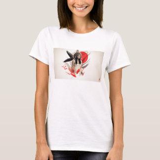 Frauen-gebürtiger Amerikaner-weiße kurze T-Shirt