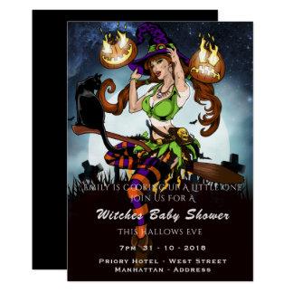 Freches Hexe-Baby-Duschen-Halloween-Party laden Karte