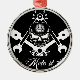 Freemason-Widows-Sons-Masonic-Hotrod-Logo-20160407 Silbernes Ornament