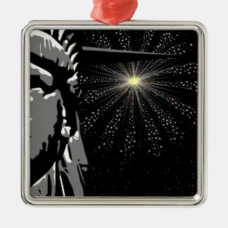 Freiheit Quadratisches Silberfarbenes Ornament