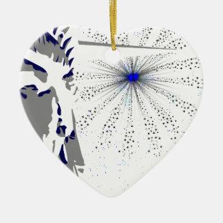 Freiheit und Himmel Rocket Keramik Herz-Ornament