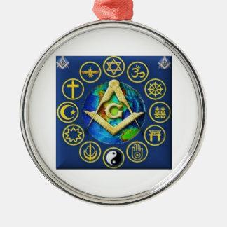 Freimaurerei alle Religionen Rundes Silberfarbenes Ornament