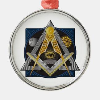 Freimaurerei-Emblem Rundes Silberfarbenes Ornament