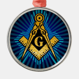 Freimaurerkompaß und Quadrat Rundes Silberfarbenes Ornament