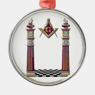 Freimaurersäulen Rundes Silberfarbenes Ornament