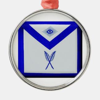 Freimaurersekretär Apron Rundes Silberfarbenes Ornament