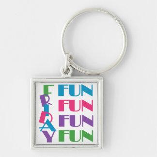Freitag! Spaß-Spaß-Spaß! Silberfarbener Quadratischer Schlüsselanhänger