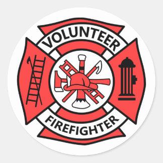 Freiwilliger Feuerwehrmann Runder Aufkleber