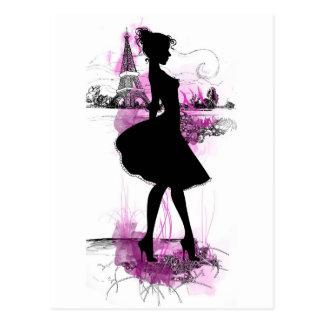 French girl postkarte