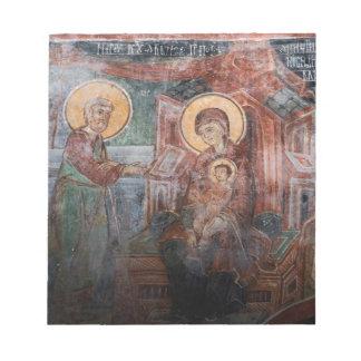Freskos von der serbischen Kirche des 14. Jahrhund Memo Blöcke
