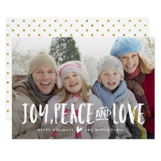 Freude-, Friedens-und Liebe-Feiertags-Foto-Karte Karte