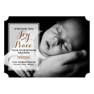 Freude u. Frieden - Weihnachtswunsch-Foto - Brown 12,7 X 17,8 Cm Einladungskarte