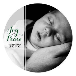 Freude u. Frieden - Weihnachtswunsch-Foto-Grün Quadratische 13,3 Cm Einladungskarte