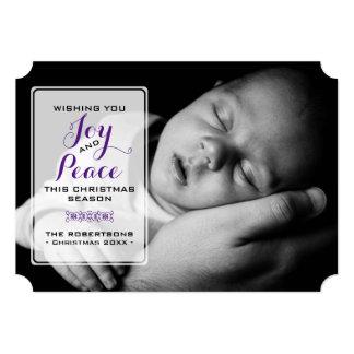Freude u. Frieden - Weihnachtswunsch-Foto - lila 12,7 X 17,8 Cm Einladungskarte