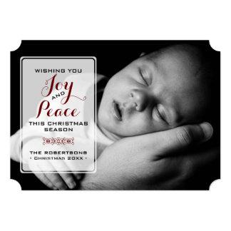 Freude u. Frieden - Weihnachtswunsch-Foto - Rot 12,7 X 17,8 Cm Einladungskarte
