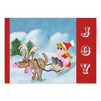 Freude-Weihnachtskarte mit Sledding Mädchen und Karte