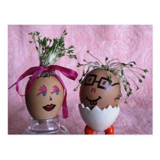 Freundliche Eggmen Spaß-Ostern-Postkarte Postkarten