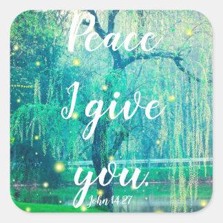 Frieden I geben Ihnen John-14:27 Quadratischer Aufkleber
