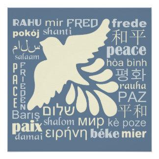 FRIEDEN im viele Sprachplakat Poster