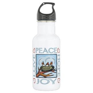 Frieden, Liebe, Freude, Hoffnung Trinkflasche