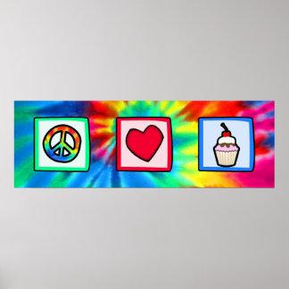 Frieden, Liebe, kleine Kuchen Poster