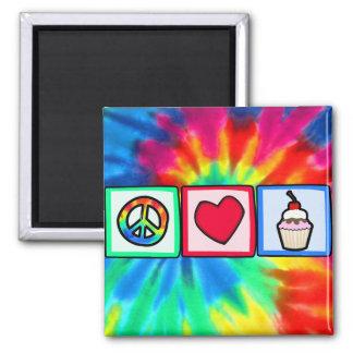 Frieden, Liebe, kleine Kuchen Quadratischer Magnet