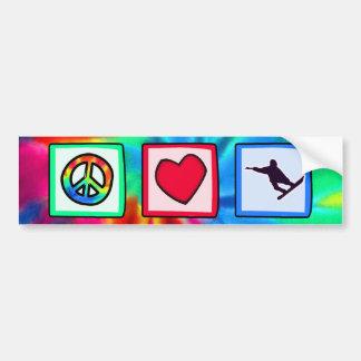 Frieden, Liebe, Snowboarding Autoaufkleber