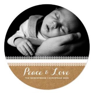 Frieden u. Liebe - Quadratische 13,3 Cm Einladungskarte