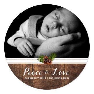 Frieden u. Liebe - WeihnachtenPinecone Holz rund Quadratische 13,3 Cm Einladungskarte