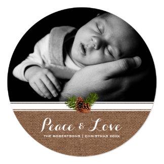 Frieden u. Liebe - WeihnachtenPinecone Leinwand Quadratische 13,3 Cm Einladungskarte