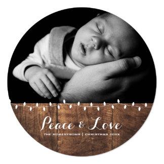 Frieden u. Liebe - Weihnachtslicht-Holz rund Quadratische 13,3 Cm Einladungskarte